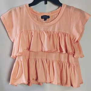 Topshop Peach Double Ruffled Tiered Crop Top Sz 2